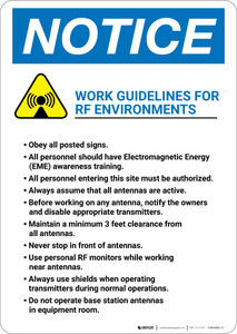 Notice: Work Guidelines For RF Environments with Icon - Wall Sign