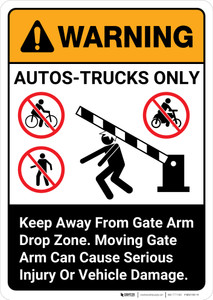 Warning: Autos-Trucks Only Gate Arm Drop Zone with Graphic Portrait ANSI - Wall Sign