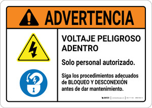 Warning: Hazardous Voltage Follow Lockout Procedures Spanish with Icons Landscape ANSI - Wall Sign