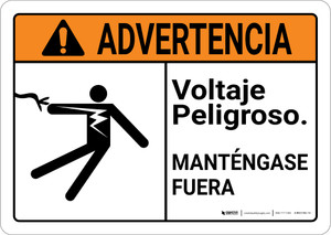 Warning: Hazardous Voltage Keep Away Spanish with Graphic Landscape ANSI - Wall Sign