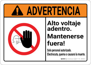 Warning: High Voltage Inside Keep Spanish with Graphic Landscape ANSI - Wall Sign