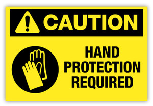 Caution - Hand Protection Required Label