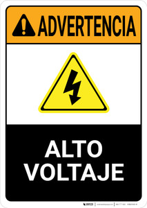 Warning: High Voltage Spanish with Graphic Portrait ANSI - Wall Sign