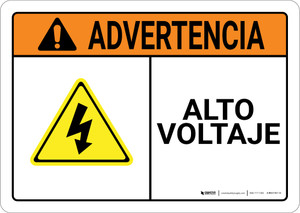 Warning: High Voltage Spanish with Graphic Landscape ANSI - Wall Sign