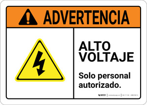 Warning: High Voltage Authorized Personnel Only Spanish with Graphic Landscape ANSI - Wall Sign