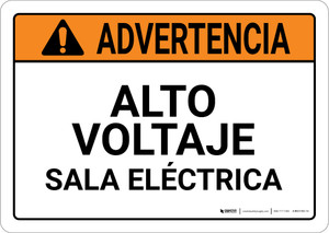 Warning: High Voltage Electrical Room Spanish Landscape ANSI - Wall Sign