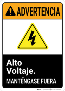 Warning: High Voltage Keep Out Spanish with Graphic Portrait ANSI - Wall Sign