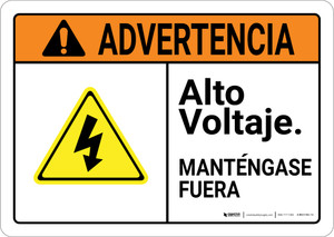 Warning: High Voltage Keep Out Spanish with Graphic Landscape ANSI - Wall Sign