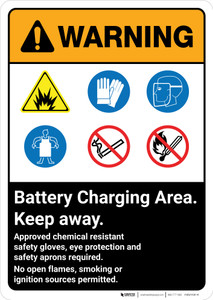 Warning: Battery Charging Area Keep Away with Icons Portrait ANSI - Wall Sign