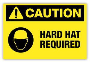 Caution - Hard Hat Required Label