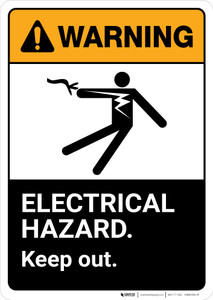 Warning: Electrical Hazard Keep Out with Graphic Portrait ANSI - Wall Sign