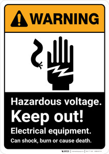 Warning: Hazardous Voltage Keep Out Electrical Equipment with Graphic Portrait ANSI - Wall Sign