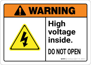 Warning: High Voltage Inside Keep Out Authorized Personnel Only with Graphic Landscape ANSI - Wall Sign