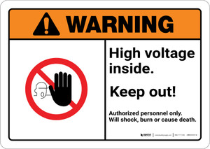 Warning: High Voltage Inside Keep Out with Graphic Landscape ANSI - Wall Sign