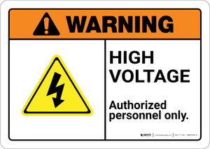 Warning: High Voltage Keep Out with Graphic Landscape ANSI - Wall Sign