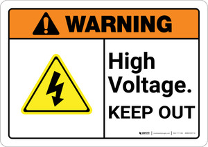 Warning: High Voltage Keep Out Authorized Personnel Only with Icons Landscape ANSI - Wall Sign