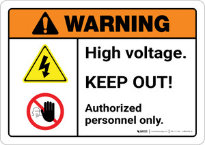 Warning: High Voltage Keep Out with Graphic Portrait ANSI - Wall Sign