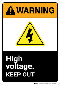 Warning: High Voltage Keep Away Authorized Personnel Only with Icons Landscape ANSI - Wall Sign