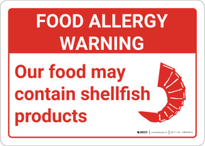 Warning: Food Allergy Warning Food May Contain Shellfish with Icon Landscape - Wall Sign