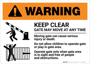 Warning: Keep Clear Gate May Move At Any Time with Icons Landscape - Wall Sign