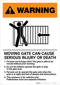 Warning: Moving Gate Can Cause Serious Injury or Death with Icon Portrait - Wall Sign