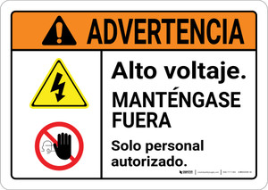 Warning: High Voltage Keep Away Spanish with Icons Landscape - Wall Sign