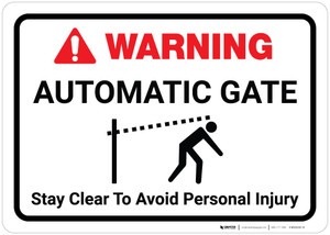 Warning: Automatic Gate Stay Clear with Icon Landscape - Wall Sign
