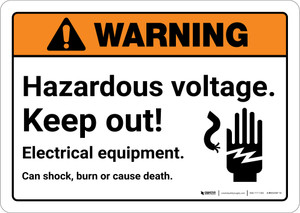 Warning: Hazardous Voltage Keep Out with Icon Landscape  - Wall Sign