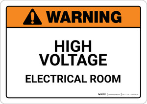 Warning: High Voltage Electrical Room Landscape - Wall Sign