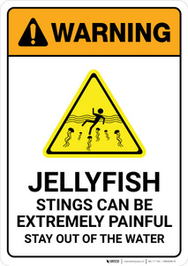 Warning: Jellyfish Stings Can Be Painful Stay Out Of Water with Icon Portrait  - Wall Sign
