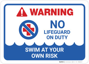 Warning: No Lifeguard on Duty with Icon Landscape - Wall Sign