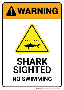 Warning: Shark Sighted No Swimming with Icon Portrait - Wall Sign