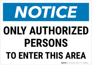 Notice:  Admittance Only Authorized Personnel Landscape - Wall Sign