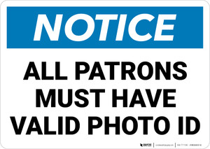 Notice:  All Patrons Valid Photo Id Landscape - Wall Sign