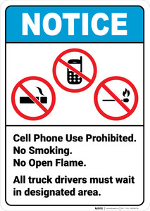 Notice:  No Cell Phone Smoking Open Flames Prohibited Icon Portrait ANSI - Wall Sign