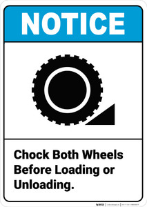 Notice:  Chock Both Wheels Before Loading Unloading Wheel Chock Icon Portrait ANSI - Wall Sign