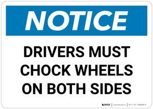 Notice:  Drivers Must Chock Wheels On Both Sides Landscape - Wall Sign