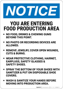 Notice: Food Production Area Bulleted List Portrait - Wall Sign