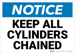 Notice: Keep All Cylinders Chained Landscape - Wall Sign