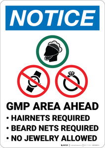 Notice: Gmp Area Ahead Watch and Jewelry Prohibited Icons Portrait - Wall Sign