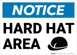 Notice: Hard Hat Area Hard Hat Icon Landscape - Wall Sign