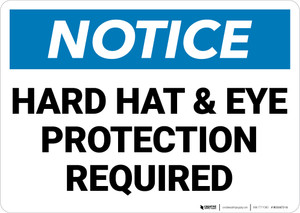 Notice: Hard Hat Eye Protection Required Landscape - Wall Sign
