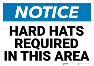 Notice: Hard Hats Required In This Area Landscape - Wall Sign