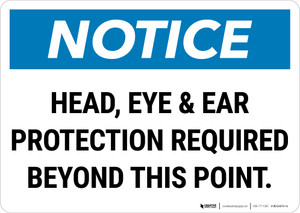 Notice: Head Eye And Ear Protection Required Landscape - Wall Sign