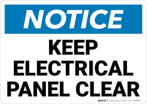Notice: Keep Electrical Panel Clear Landscape - Wall Sign