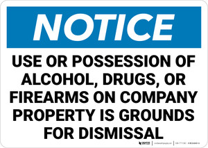 Notice: No Alcohol Drugs Firearms Landscape - Wall Sign