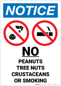 Notice: No Peanuts Tree Nuts Crustaceans Smoking with Icon Portrait - Wall Sign