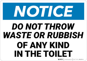Notice: No Waste Or Rubbish Toilet Landscape - Wall Sign