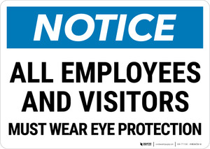 Notice: Employees and Visitors Must Wear Eye Protection Landscape - Wall Sign