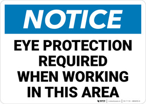 Notice: Eye Protection Required While Working in Area Landscape - Wall Sign
